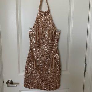 Rose gold sparkle mini dress